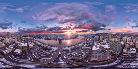Portland downtown sunrise aerial 360 by 180 photosphere
