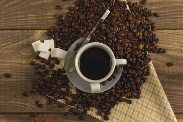 Café caliente en el hogar
