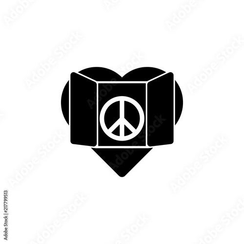 Heart And Peace Sign Icon Element Of Human Rights Icon Premium