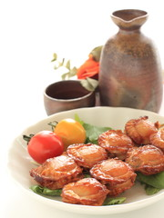 Japanese food, grilled  soy sauce and scallop