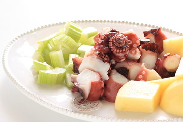 Boiled octopus and vegetable for prepared food image