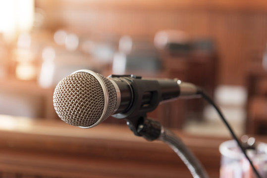 microphone,Table and chair in the courtroom of the judiciary.
