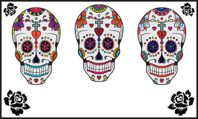 Day of the Dead sugar skull set with black roses on white background with copy space.