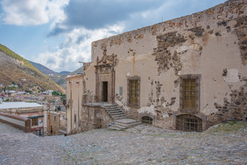 Abandoned ruins of ancient town at Real de Catorce ghost town in San Luis Potosi, Mexico