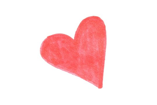 Red heart colored by hand with marker.