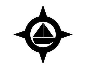 black silhouette sail sailor ship boat vessel compass icon