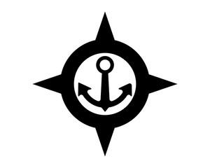 black compass anchor port harbor compass image vector icon logo