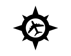black silhouette compass plane airport airways airline image vector icon logo