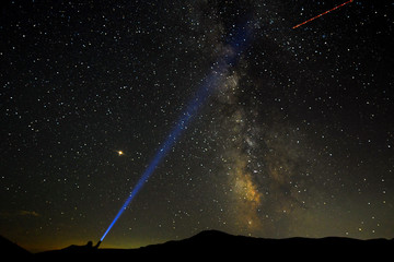 A man points his light at the Milky Way during the peak of the Perseid meteor shower in Macedonia
