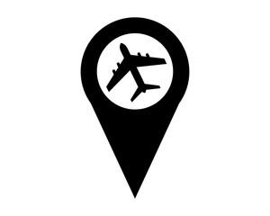 plane marker map icon symbol logo silhouette black