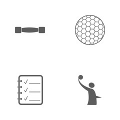 Vector illustration set sport icons. Elements volleyball logo, sheet mark, golf ball and lightweight dumbbells icon