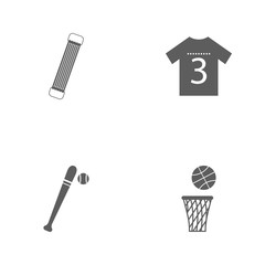 Vector illustration set sport icons. Elements basketball basket and ball, bit and ball, sports shirt and shoulder expander icon