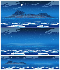 Landscape of the open sea with the island at night