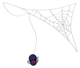 Spider hanging from a web corner accent