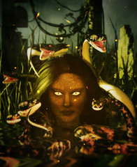 Horror queen of the lake,3d Mixed media for book illustration or book cover