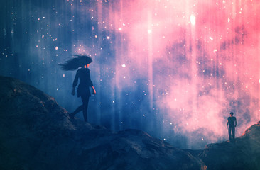 Walk of love,Couple walking to each other,3d illustration conceptual background