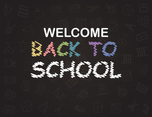 Welcome Back to School poster with doodles, good for textile fabric design, wrapping paper and website wallpapers