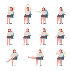 Stretching exercises for women at work for health. flat design style vector graphic illustration set