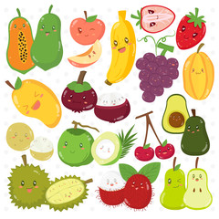 Set of cute fruits with different expressions, cartoon vector