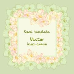 Vector frame with outline jasmine flowers. Blossom.