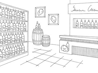 Wine store shop interior black white graphic sketch illustration vector