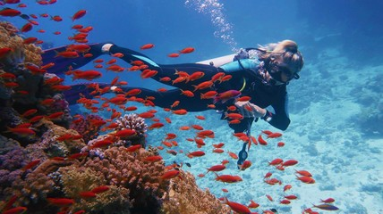 Woman scuba diver admiring beautiful coral reef with shoal of beautiful red coral fish