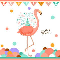 Birthday greeting card with flamingo. Doodle vector illustration