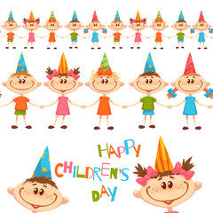 Seamless pattern with cute children. Happy Children Day title. Vector illustration.