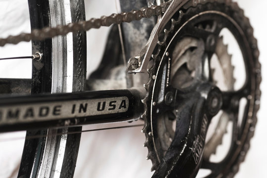 A 'MADE IN USA' label is seen on a Cannondale bicycle in Beijing