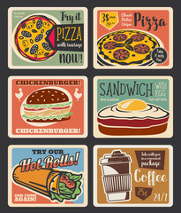Fast food menu vintage card with takeaway snack