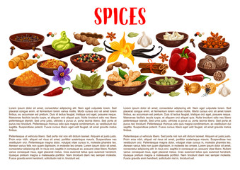 Spices, condiments and food seasoning banner