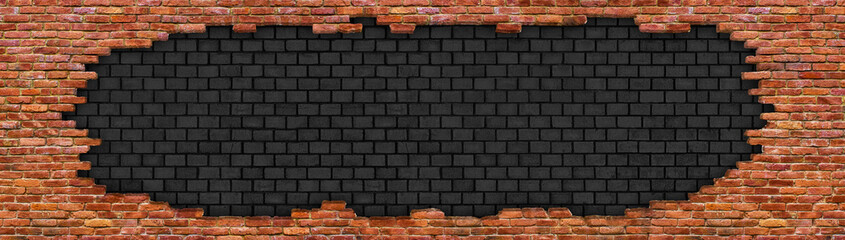 Hole in old brick wall texture of the destroyed red stone