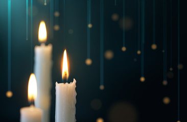 Candles with hanging lights background