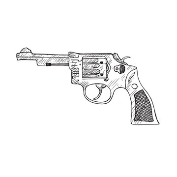Smith & Wesson, hand drawn doodle sketch, isolated vector outline illustrationŒ