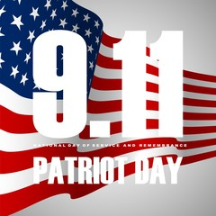 9/11 Patriot Day background, American Flag stripes background.