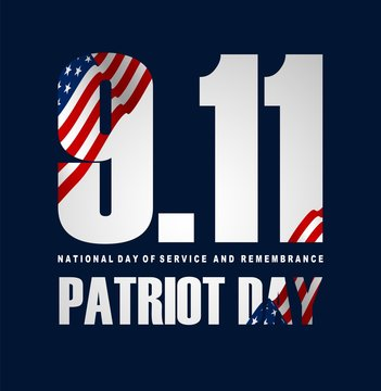 Illustration of Patriot Day Poster. September 11th National Day of Service and Remembrance