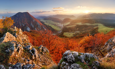 Slovakia autumn landscape panorama at sunset