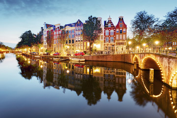 Amsterdam in Netherlands at night