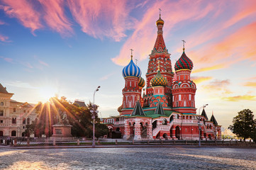 Garden Poster Asian Famous Place Moscow, Russia - Red square view of St. Basil's Cathedral at sunrise, nobody