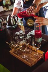 championship among coffee houses, members of teams show barista's skill, prepare drinks, teamwork