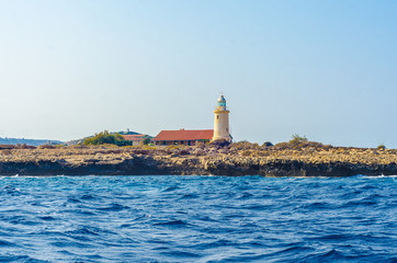 lighthouse in Cyprus on the Mediterranean sea