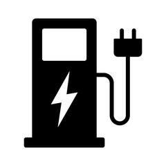 Electric vehicle charging station or EV charge point for electric vehicles / cars flat vector icon for apps and websites