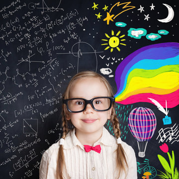 Curious child opens a wonderful world of knowledge. Creativity education and happy childhood concept