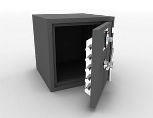 3d openede safe concept . 3d rendered illustration