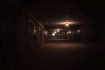 Dark long hallway with metal gates