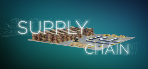 Supply Chain title with a warehouse on background 3d rendering