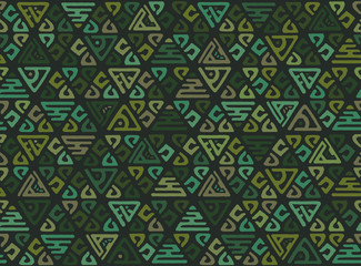 Ethnic seamless geometric pattern of triangles in the tribe style. Decorative monotonous patchwork background for Wallpaper or print onto fabric. Vector texture