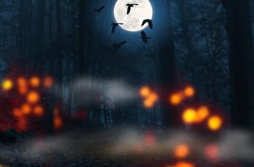 vollmond krähen wald halloween hintergrund
