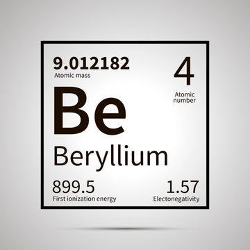 Beryllium chemical element with first ionization energy, atomic mass and electronegativity values ,simple black icon with shadow