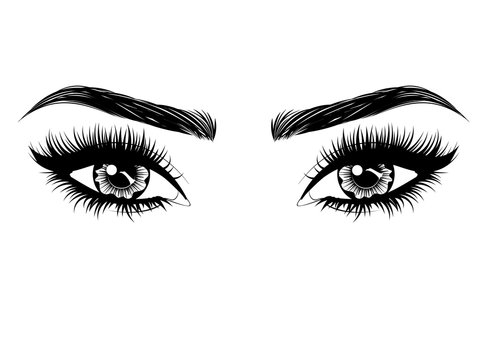 Eyes with long eyelashes and brows